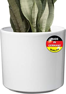 Modern Ceramic White Round Medium Flower Pot 10.5 inch | Las Vegas Model for Indoor Large Planter | Fits Perfectly in 11 inch Mid Century Plant Stands | Cylinder Plant Pots | Large Round Vase