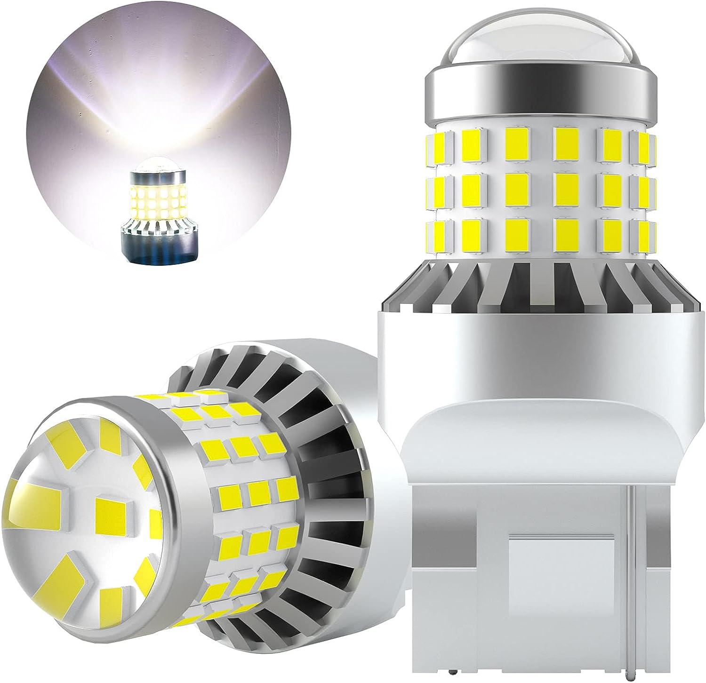 AGLINT W21W T20 LED Bombillas 57SMD 992 7440 12V 24V Para Coche Luces Traseras Luz de Marcha Trás Señal de Giro Traseras Posición Luz Diurnas Luces 6000K Blanco 2 Piezas
