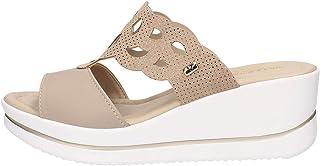 VALLEVERDE 32351 Sandalo Scarpe Zeppa Donna Beige Pelle