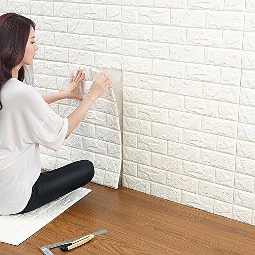 3D Ziegelstein Tapete, Selbstklebend Brick Muster Tapete, Fototapete~Wandaufkleber für Schlafzimmer Wohnzimmer moderne tv schlafzimmer wohnzimmer dekor, 60 * 60cm, weiß (20)