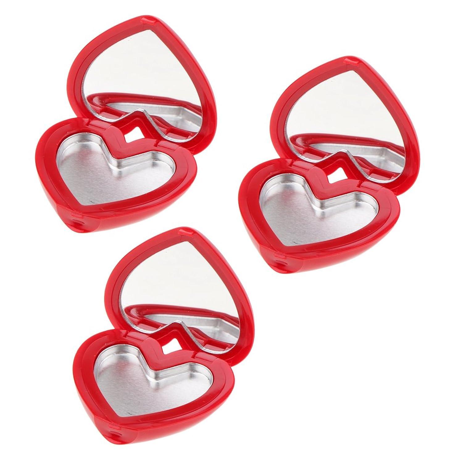 デンマーク語ソート制限Perfk コスメ 詰替え 収納ケース 口紅 アイシャドウ ハート型 手作り プレゼント おしゃれ 全4色 - 赤