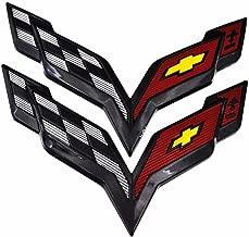 CV-C7 Replacement C7 Corvette Stingray Carbon Flash Black Exterior Front + Rear Crossed Flags Emblems Badges 2014 Corvette C7 Stingray Front Bumper Emblem (Set of 2)