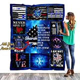 Personalized Custom Name EMS EMT Paramedic Quilt Fleece Throw Blanket Tapestry Birthday Thin White Line Star of Life Appreciation Graduation Gifts for Men Women Daughter Mom Thin Blue Line Blanket