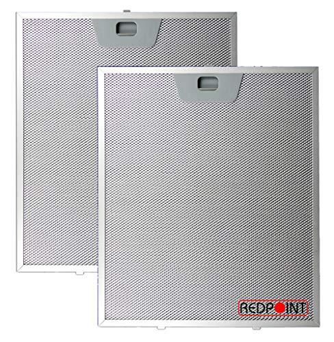 Set mit 2 Filtern aus Aluminium für Kappen, 253 x 300 x 8 mm, mit unteren Anschlüssen