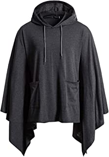 Men's Cloak Cape Coat Mens Casual Long Sleeve Solid Irregular Pullover Outwear Hooded Sweatshirts with Pockets