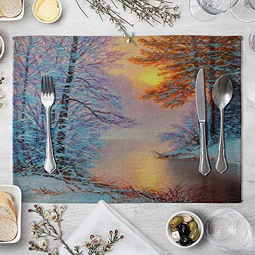 AmDxD Juego de 2 manteles individuales de lino de algodón, 30,4 x 40,6 cm, decoración de interior del bosque y lago, decoración de mesa para casa de campo, boda, fiesta, cena, hogar, gris, amarillo