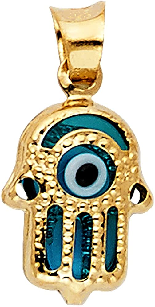 ZenJewels Evil Eye Hamsa Hand Pendant Solid 14k Yellow Gold Good Luck Charm Polished Genuine Fancy 11 x 9 mm