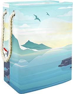 Vockgeng Paysage de Phare Accueil Organisation Panier de Rangement imperméable Pliable de Jouets de Jouets de Panier avec ...