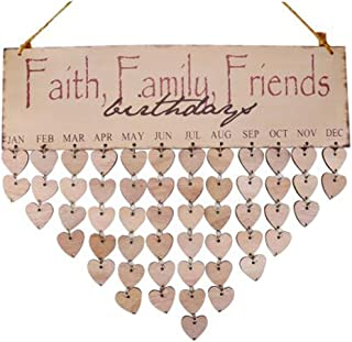 FLORMOON Family Birthday Board Wooden Plaque Faith Friends Calendar Board Friend Birthday Reminder for Home Decoration