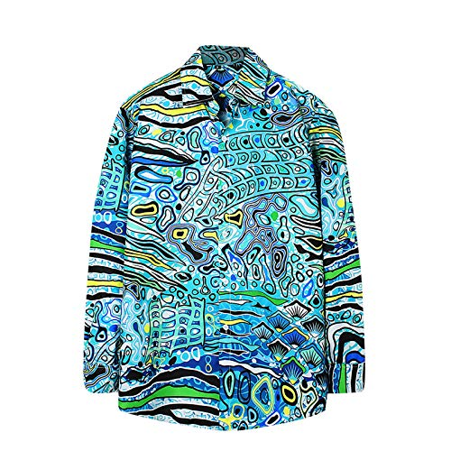 Masrin Herren Shirt Mode Rendering Print Tops Langarm Revers Button Cardigan Hawaiian Bluse(XXL,Blau)