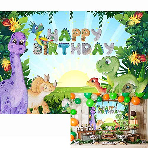 Allenjoy 5x3ft Cartoon Dinosaur Theme Backdrop Wild Forest Sunshine Birthday Party Baby Shower Newborn Kids Photography Background Cake Table Banner Decoration Photo Booth Studio Props