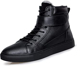 SHENYUAN Men's Ankle Boots Cotton Boot Lace up Hook&Loop Strap Genuine Leather Flat Heel Wear Resistant Anti-slip Round Toe Fleece Inside Work or Casual Wear (Color : Black, Size : 48 EU)