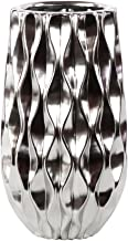 Urban Trends Ceramic Round Vase with Embossed Wave Design and Rounded Bottom LG Polished Chrome Finish Silver, Silver