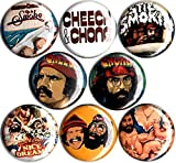 Cheech and Chong Set of 8 New 1' inch (25mm) Button pin Badges up in Smoke Still Smokin Stoner Weed
