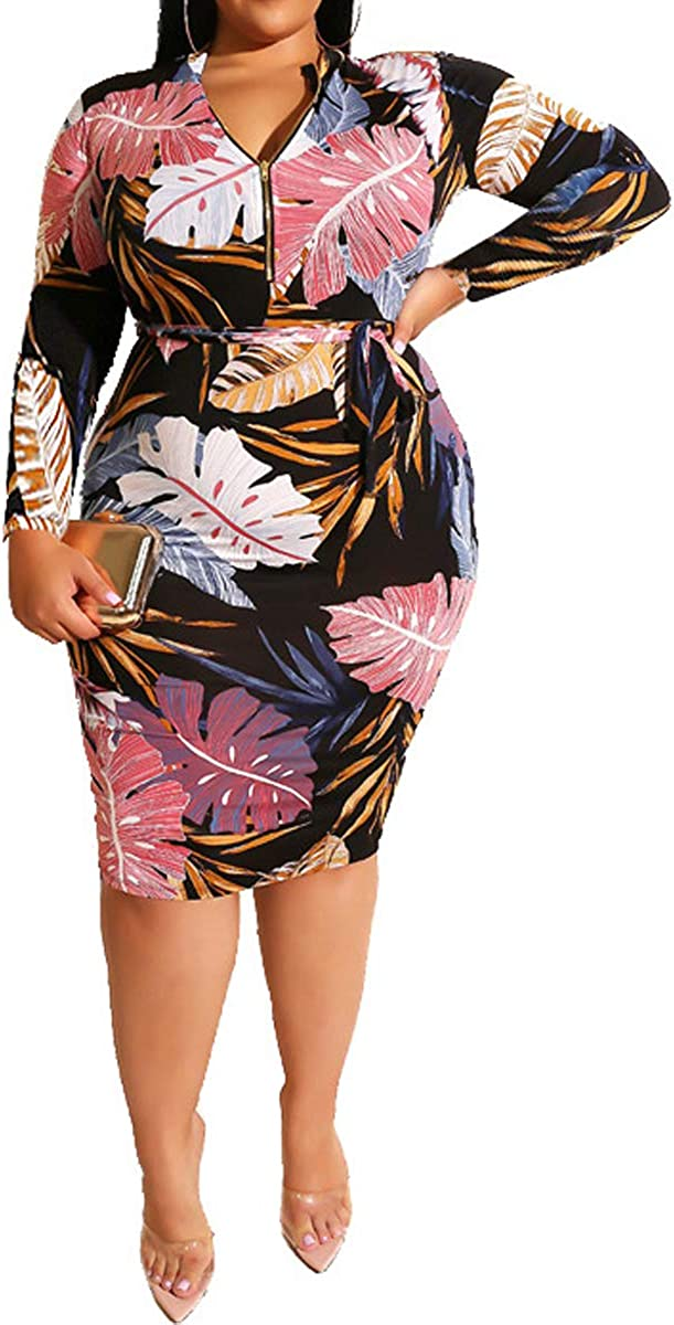 Fashion Women 3//4 Sleeves Digital Print Belted Bodycon Club Party Casual Dress