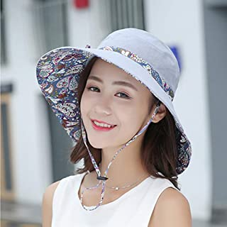 ZXH77f-Fashion hat Ladies Bucket Hat Summer Sun Hats, Sunhats Womens Foldable Roll Up Sun Hat,Packable Summer Sun Straw Hat (Color : Gray)