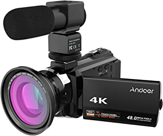 Video Camcorder, Andoer 4K Digital Video Camera 48MP 2880 x 2160 HD 3inch Touchscreen Handy Camera with IR Night Sight Sup...