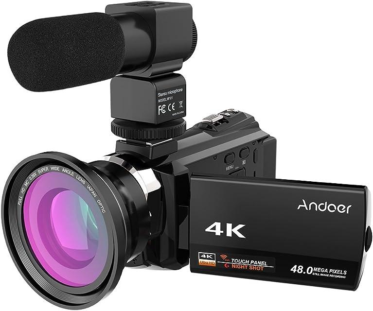 Andoer 4K 1080P 48MP WiFi Cámara de Video Digital Grabadora de Videocámara con Lente Macro 0.39X Micrófono Externo Novatek 96660 Táctil Capacitiva IR Visión Nocturna Infrarroja 16X Zoom Digital