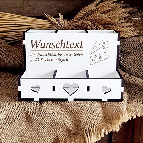 Personalisierte Stiftebox « Käse » mit individueller Wunschgravur und Motiv - 6 Fächer - Stiftehalter Organizer Box Ablage Aufbewahrung für Schreibtisch & Büro - Käsetheke