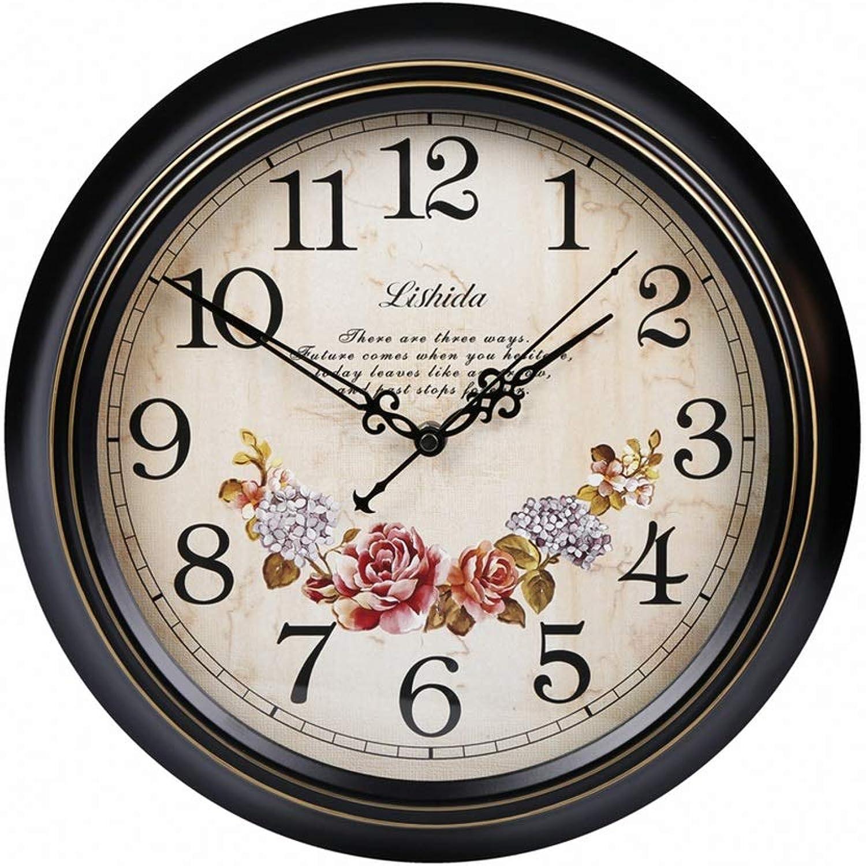 connotación de lujo discreta Reloj Reloj Reloj de Parojo Retro de Metal Europeo Reloj de Parojo silencioso rojoondo Creativo Parojo Retro Vintage para decoración Sala de Estar, Dormitorio y Cocina   Números arábigos (Tamaño   35.5cm(14in))  60% de descuento