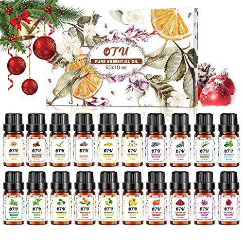 TXIN Naturreine Ätherische Öle (20 Packs), 20x10 ml 100% Reines Therapeutisches Öle Set, Pure Duftöl Bio Aromatherapieöle Geschenkset für Diffusor Massage & DIY 0.34 Fl Oz
