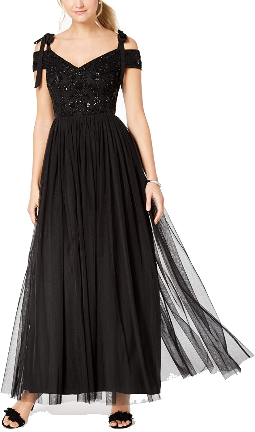 Adrianna Papell Women's Long Beaded Dress with Off The Shoulder Sleeves and Ties