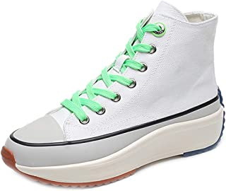 BeiaMina Women Simple Platform High-Top Canvas Shoes Casual Shoes Lace Up