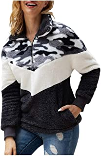 HunYUN Women's Camouflage Pocket Turn-Down Collar Long Sleeve Blouse Sweatshirt
