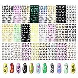 EBANKU 24 Feuilles 3D Lettres Autocollant à Ongles Alphabet Vieux Anglais Lettres Décalcomanies à Ongles Auto-adhésifs DIY Nail Art Décoration pour Femmes