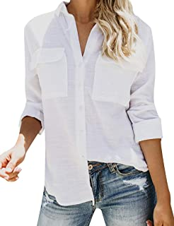 Naggoo Womens Long Sleeve V Neck Collared Button Down Shirts Casual Roll Up Cuffed Sleeve Blouses Tops with Pockets