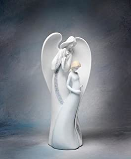 9 1/2 Inch White Angel Watching Over Pregnant Mother Figurine