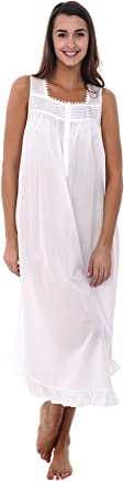 Alexander Del Rossa Womens 100% Cotton Lawn Nightgown, Long Sleeveless Chemise