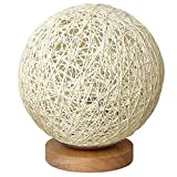 MinTian Romantic Solid Wood Table Lamp Bedside Lamp Rattan Ball Round Lampshade with USB Charging Port Sweet Dream Lamp (Creamy-White)