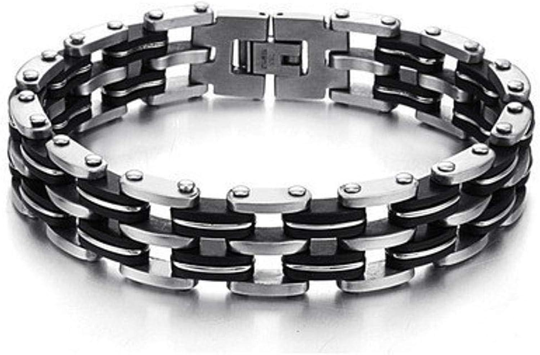 Zicue Stylish Charming Bracelet Exquisite Ornaments Men's bracelet Multilayer bracelet silicone bracelet titanium steel Black bracelet 22cm