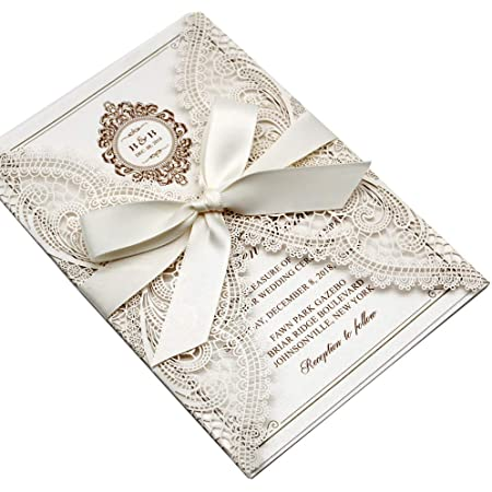 Elegant Vertical Laser Cut Wedding Invitation Card Kit Personalized for Marriage