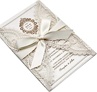 Picky Bride 25-Pack Elegant Wedding Invitations Cards, Save The Date, Ivory Laser Cut Invitations with Ribbon Bow and Envelopes Blank Invitations - Set of 25 pcs (Ivory Ribbon, Blank)