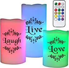 DRomance Color Changing Flickering Flameless Candles with Remote Control and Timer - Romantic Led Candles - with Live, Love, Laugh Decal -Multicolored Pillar Candles Real Wax for Decoration