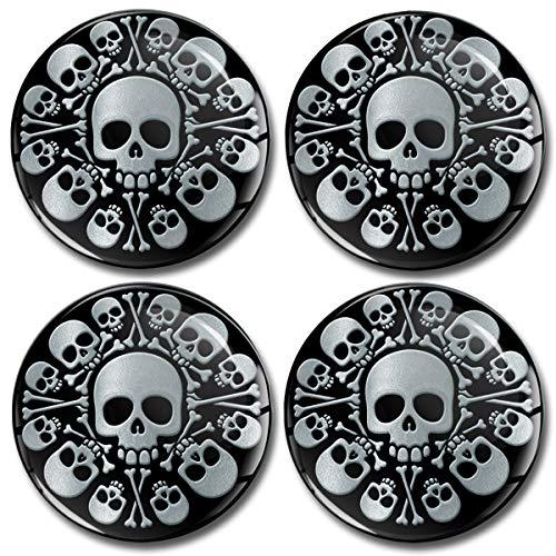 Biomar Labs 4 x 60mm Universal Adhesivo Pegatinas para Tapas de Rueda de Centro Tapacubos para Coche Plata Silver Skull Cráneo Calavera A 9860