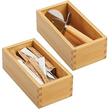 mDesign Juego de 2 organizadores de cajones para la cocina – Cajas organizadoras modulares para accesorios de cocina y más – Separador de cajones de bambú – marrón claro: Amazon.es: Hogar