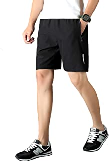 LancerPac Men's Quick Dry Lightweight Active Sports Workout Training Shorts with Zipper Pocket