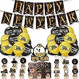 SHLMO 2022 Neujahr Motto Party Dekoration Silvester Pull Flag Silvester Kuchen Karte Ballon Set Set A