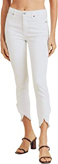 JBD Jeans Tulip Double Fray Hem High-Rise Ankle Skinny Jeans White DP438