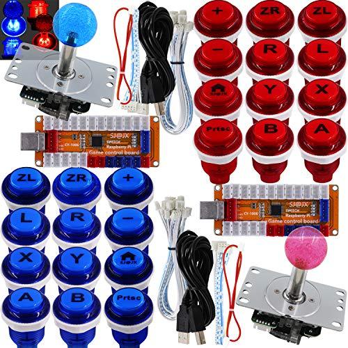 SJ@JX Arcade Game LED Controller Lamp USB Encoder 2 Player Gamepad Cherry MX Microswitch Light Button 8way LED Joystick for Nintendo Switch PC PS3 Retropie Raspberry Pi MAME
