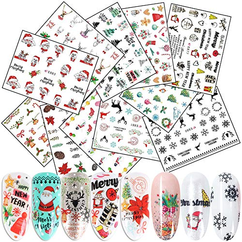 Christmas Nail Art Stickers 3D Self-Adhesive Nail Decals 11 Sheets Winter Xmas Tree Santa Claus Bell Snowman Deer Dog Snowflake Nail Art Stickers for Women Girls Kids DIY Christmas Nail Decoration