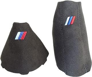 For BMW E90 E91 E92 E93 2005-2013 Automatic Shift & E brake Boot Black Genuine Suede M3 /// Embroidery