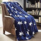 JML Throw Blanket for Couch - Super Soft Lightweighted Microfiber Fuzzy Flannel Blanket Throw Shawls and Wraps for Adults or Pet - Star Blue