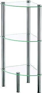 Kela 18050, regał narożny, 3 półki, metal/szkło bezpiec