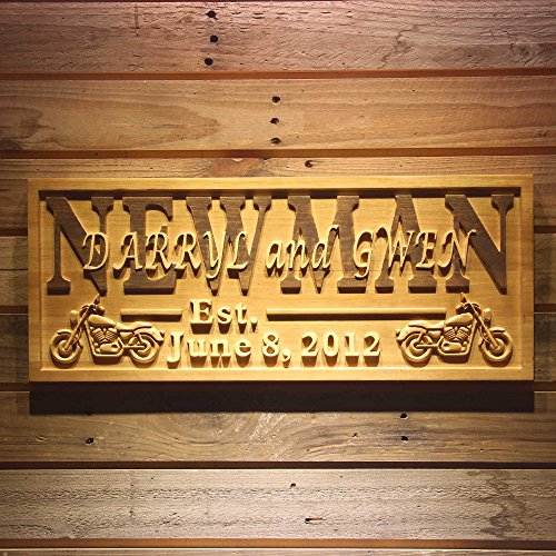 """ADVPRO wpa0374 Motorcycle Gifts Family Name First Names Personalized with Established Date Wedding Gift Wood Engraved Wooden Sign - Medium 18.25"""" x 7.25"""""""