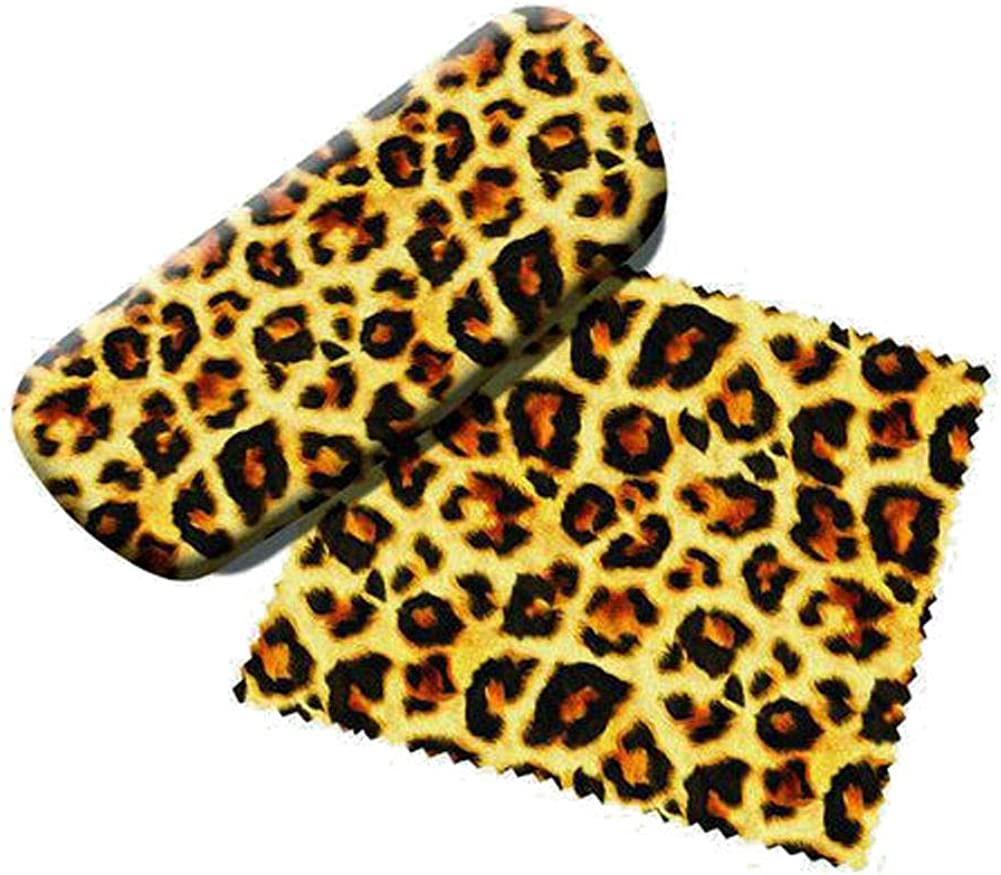 Leopard Animal Print Eyeglass Case with Microfiber Cleaning Cloth