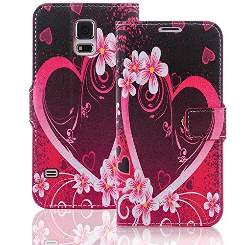 numerva Handyhülle kompatibel mit Huawei Ascend Y530 Hülle [Herz Love Muster] Hülle Ascend Y530 Handytasche